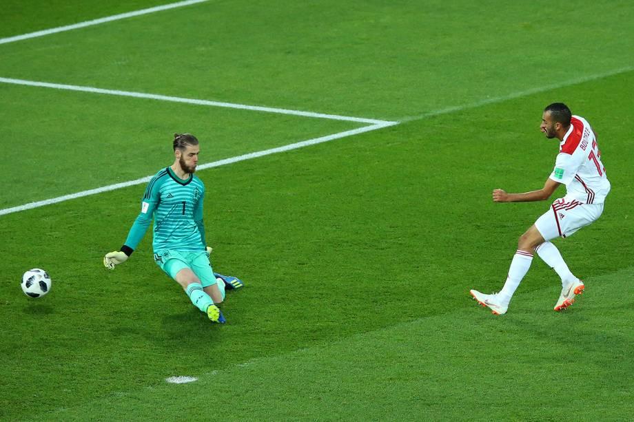 Khalid Boutaib do Marrocos marca seu primeiro gol na partida contra a Espanha - 25/06/2018