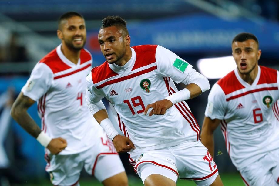 Youssef En-Nesyri do Marrocos comemora segundo gol na partida contra a Espanha - 25/06/2018