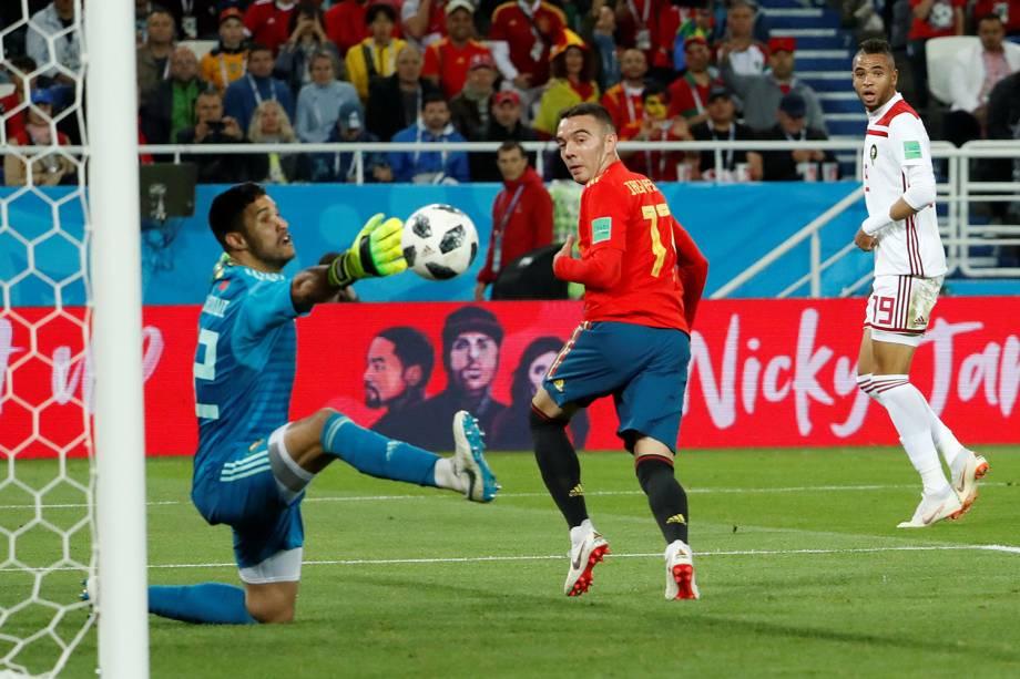 Iago Aspas da Espanha marca segundo gol da partida contra o Marrocos - 25/06/2018