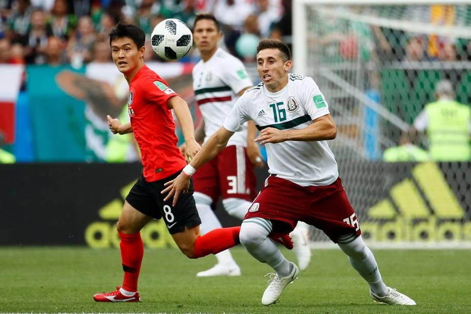 Hector Herrera do México durante jogada contra Ju Se-jong da Coreia do Sul - 23/06/2018