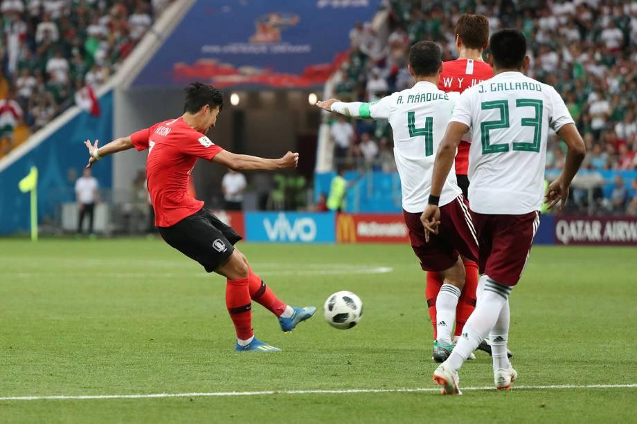 Son Heung-min da Coreia do Sul marca seu primeiro gol em partida contra o México na Arena Rostov - 23/06/2018