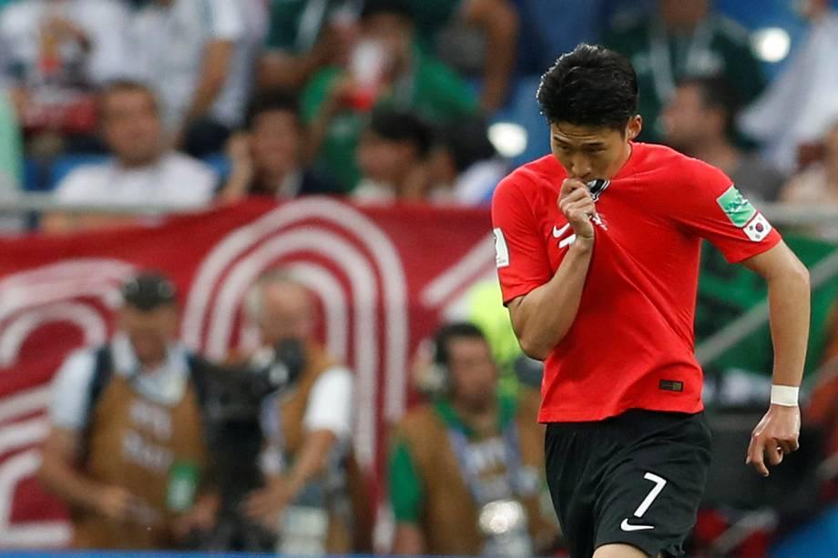 Son Heung-min da Coreia do Sul comemora seu primeiro gol em partida contra o México - 23/06/2018