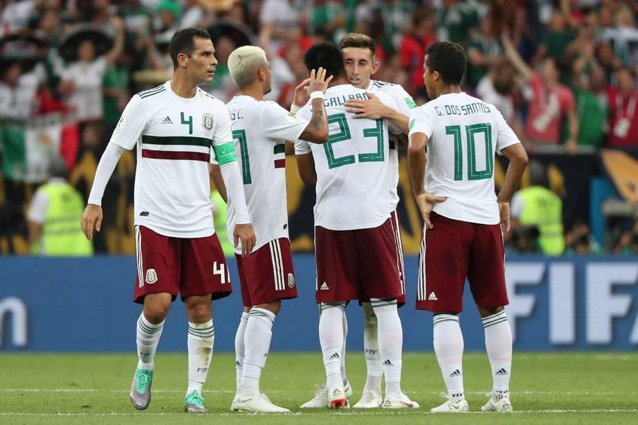 Seleção mexicana comemora vitória contra a Coreia na Arena Rostov - 23/06/2018
