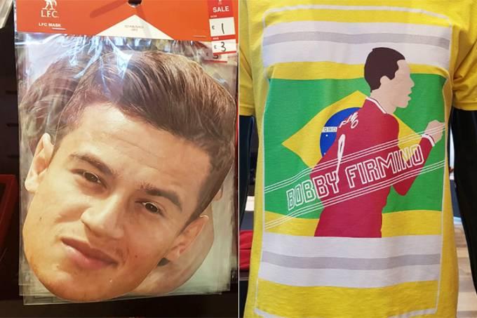 Máscaras de Roberto Firmino e camiseta são vendidas em Liverpool