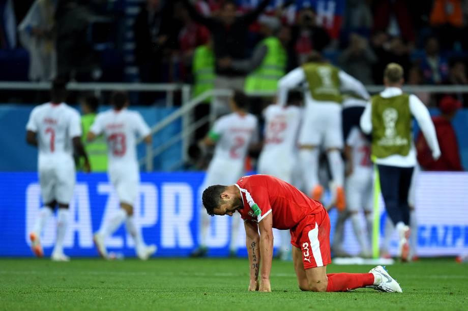 Dusko Tosic da Sérvia reage após derrota em partida contra a Suíça na Copa do Mundo 2018 - 22/06/2018