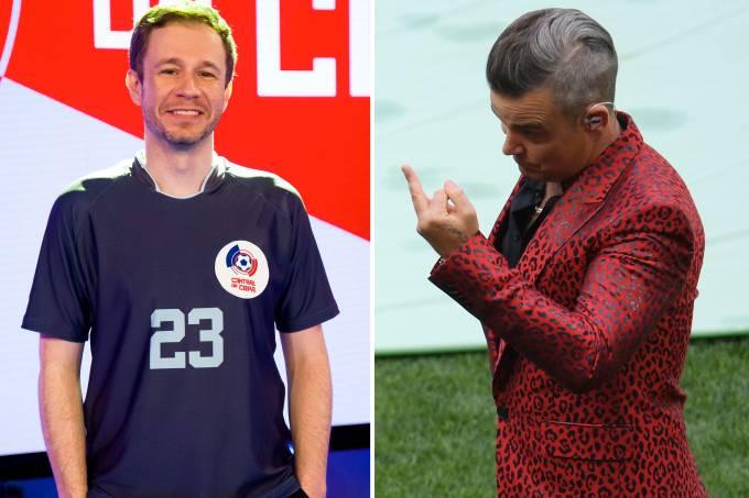 Tiago Leifert e Robbie Williams