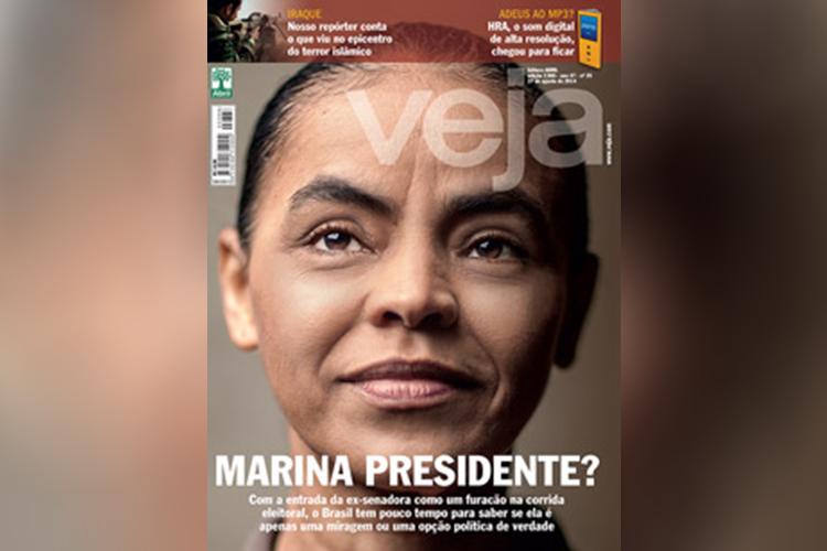 Capa de VEJA estampa foto de Marina Silva, em 27 de agosto de 2014