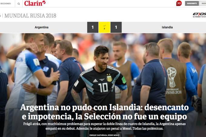 Clarín repercute empate da seleção argentina