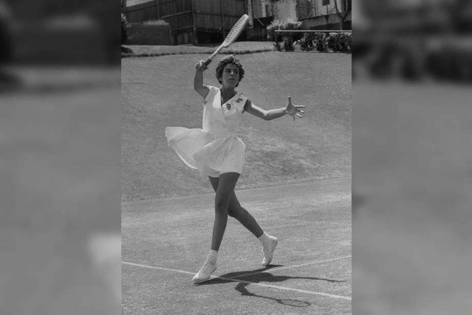 Maria Esther Bueno durante partida em Nova Gales do Sul - 17/11/1959