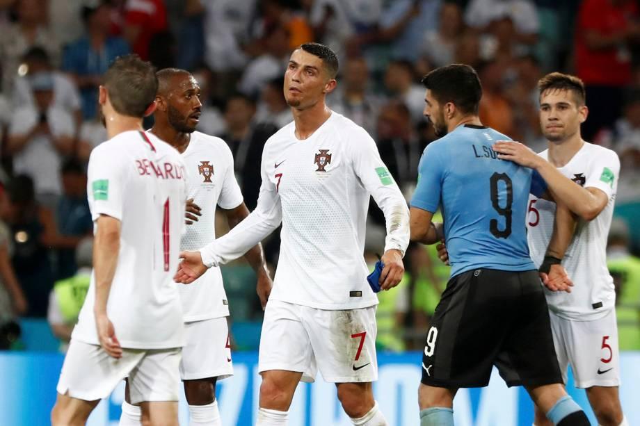 Cristiano Ronaldo reage após a derrota de Portugal para o Uruguai nas oitavas de final - 30/06/2018