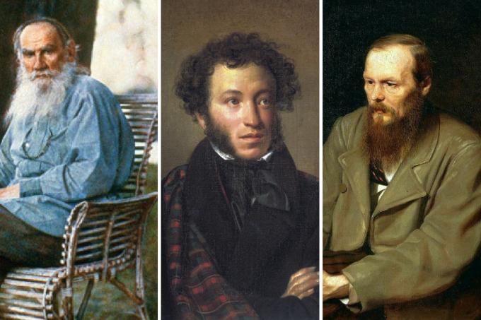 Liev Tolstói, Fiodor Dostoievski e Pushkin