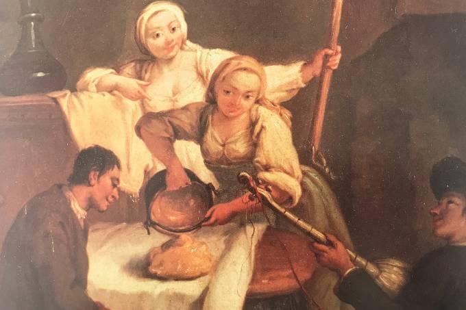 """""""A polenta"""", famoso óleo do pintor veneziano Pietro Longhi (1702-1785), conhecido pela candura e elegância, ao reproduzir cenas  burguesas ou populares"""