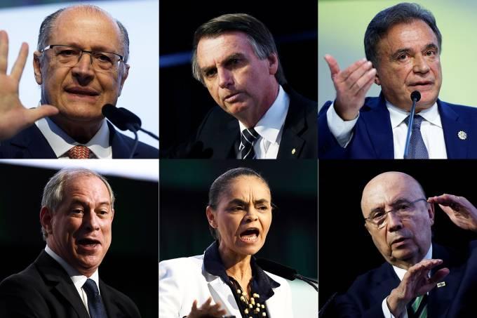 Geraldo Alckmin, Jair Bolsonaro, Álvaro Dias, Ciro Gomes, Marina Silva e Henrique Meirelles