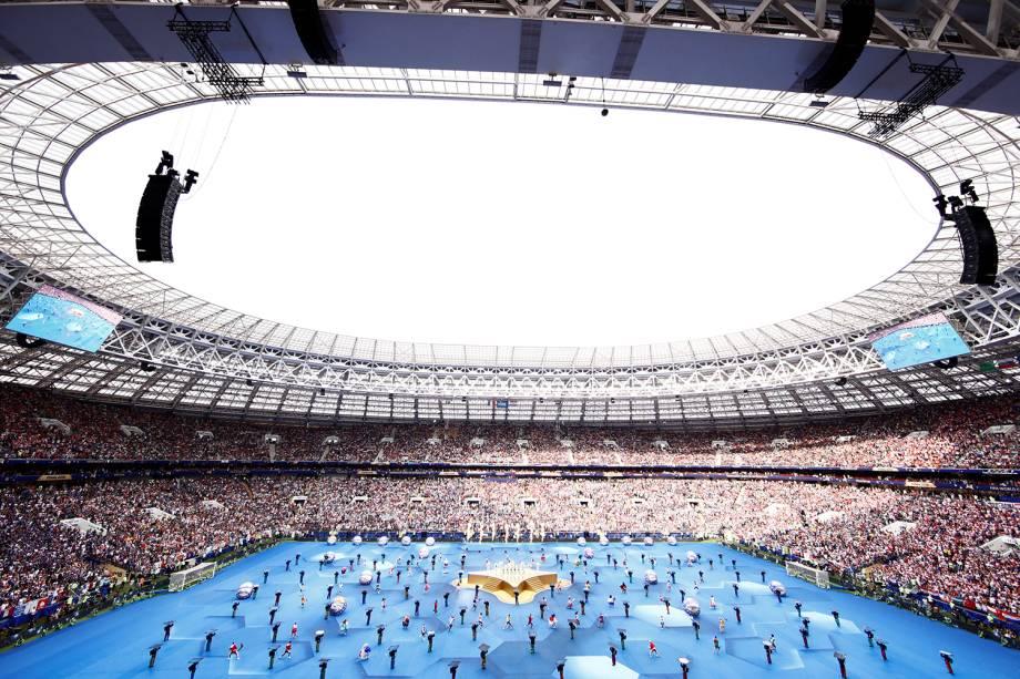 Cerimônia de encerramento da Copa do Mundo da Rússia, no Estádio Lujniki, antes da final entre França e Croácia - 15/07/2018