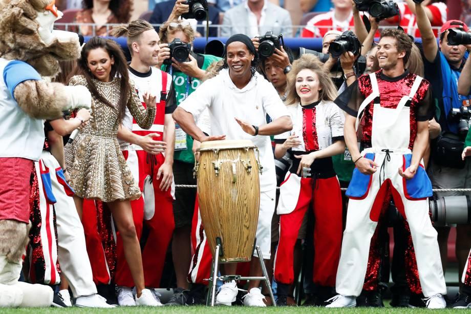 O ex-jogador Ronaldinho Gaúcho durante cerimônia de encerramento da Copa do Mundo da Rússia, no Estádio Lujniki, antes da final entre França e Croácia - 15/07/2018