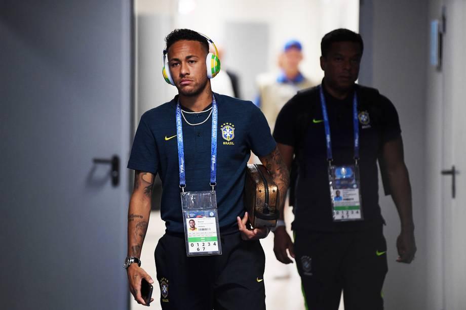 Seleção Brasileira chega na Arena Samara para o confronto contra o México, válido pelas oitavas de final da Copa do Mundo. No destaque, o jogador Neymar - 02/07/2018