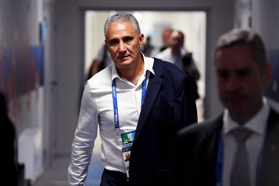 Seleção Brasileira chega na Arena Samara para o confronto contra o México, válido pelas oitavas de final da Copa do Mundo. No destaque, o técnico Tite - 02/07/2018
