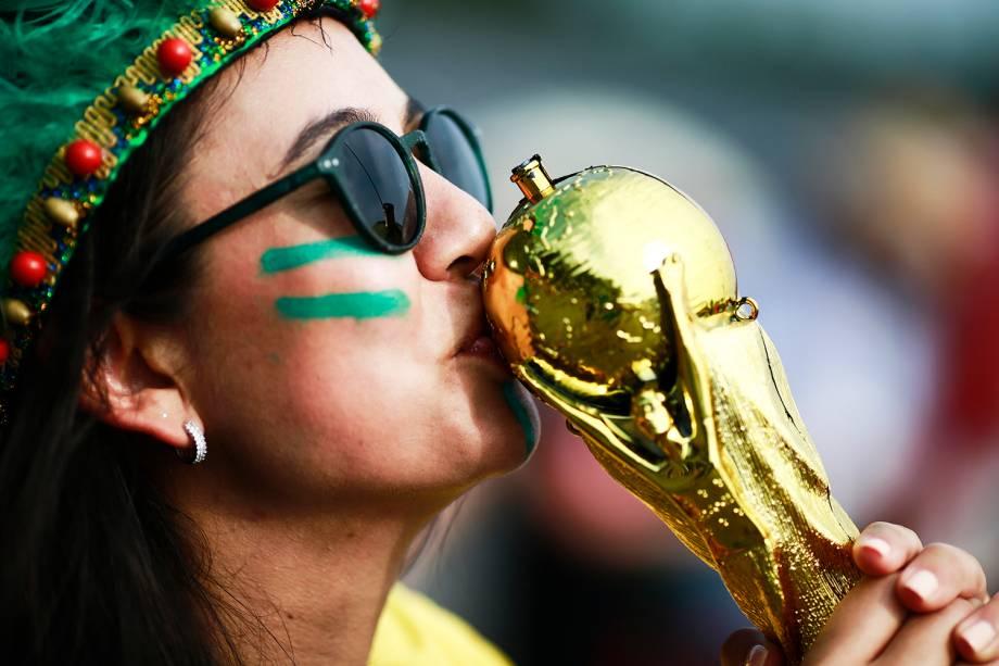 Torcedores marcam presença na Arena Samara para acompanhar a partida entre Brasil e México, válida pelas oitavas de final da Copa do Mundo - 02/07/2018