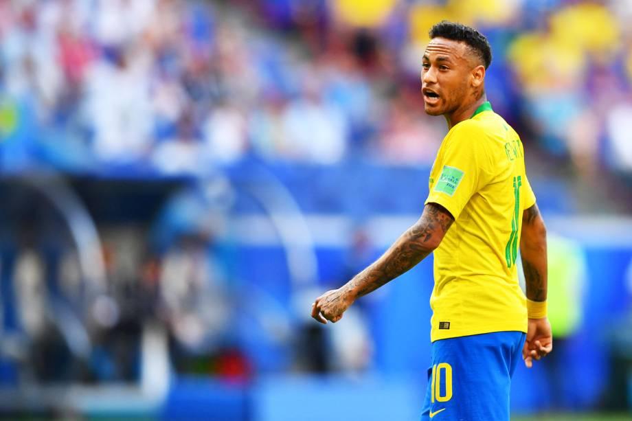 Neymar durante partida entre Brasil e México, válida pelas oitavas de final da Copa do Mundo - 02/07/2018