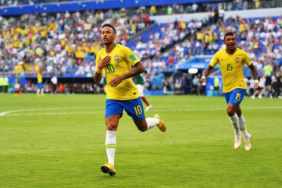 Neymar abre o placar para a Seleção Brasileira diante do México, na Arena Samara - 02/07/2018