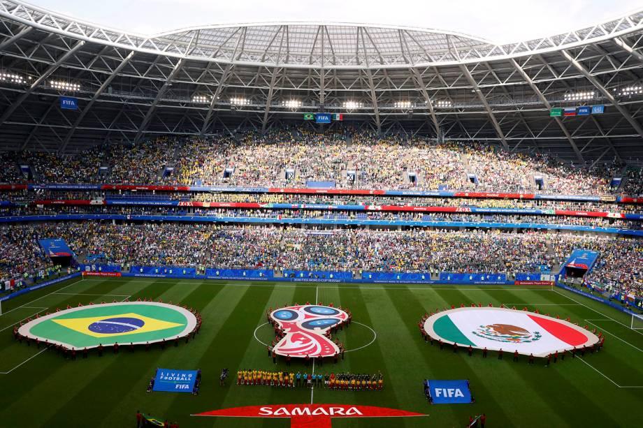 Vista geral da Arena Samara, que recebe a  partida das oitavas de final entre Brasil e México - 02/07/2018