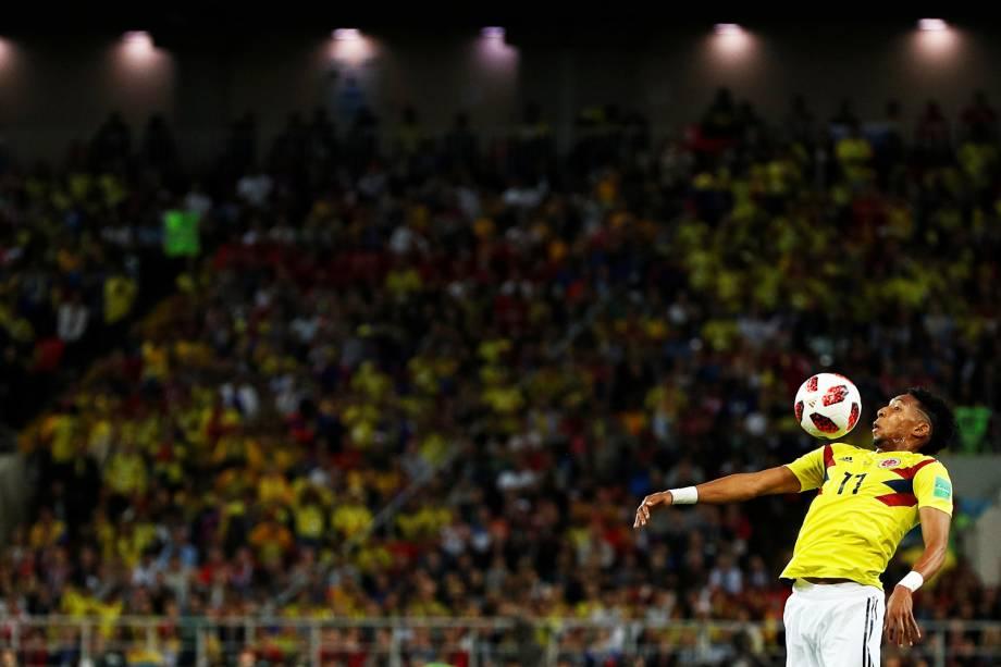 Johan Mojica durante partida entre Colômbia e Inglaterra, válida pelas oitavas de final da Copa do Mundo - 03/07/2018