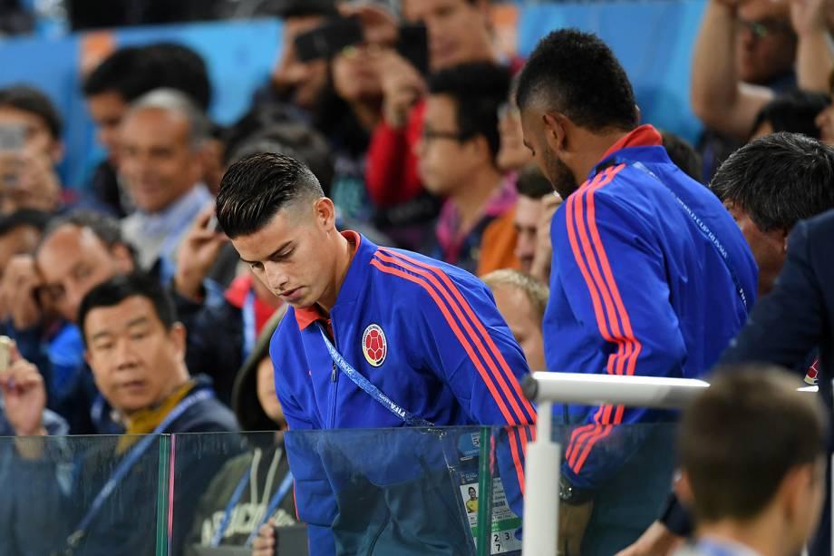 James Rodriguez, jogador da Colômbia, assiste partida no estádio Spartak - 03/07/2018