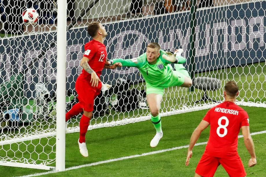 Colômbia marca o gol de empate nos acréscimos do segundo tempo, em partida contra a Inglaterra, válida pelas oitavas de final da Copa do Mundo - 03/07/2018