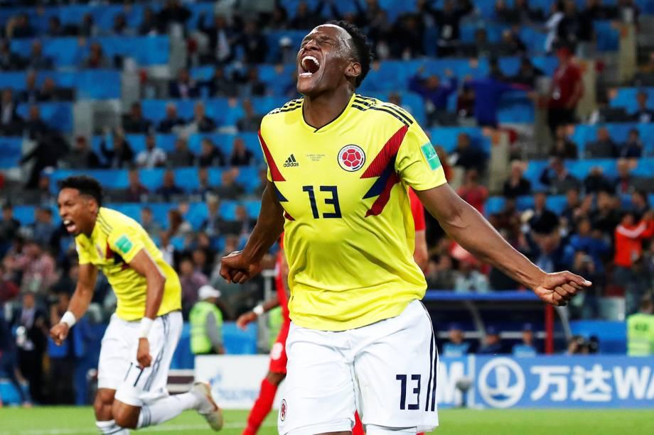 Yerry Mina comemora após marcar gol de empate para a Colômbia, nos acréscimos do segundo tempo, em partida contra a Inglaterra, válida pelas oitavas de final da Copa do Mundo - 03/07/2018