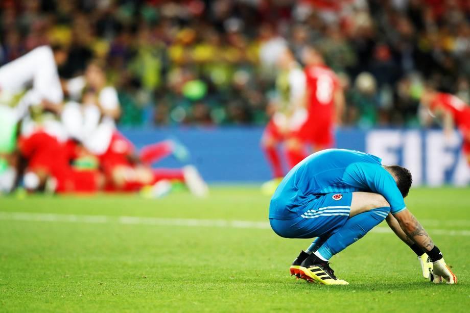 David Ospina, goleiro da Colômbia, lamenta após a equipe sul-americana ser eliminada da Copa do Mundo - 03/07/2018