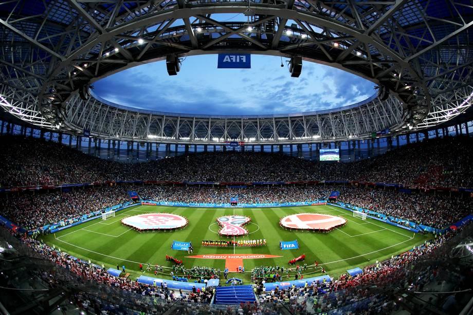 Vista geral do estádio Níjni Novgorod, antes da partida entre Croácia e Dinamarca, válida pelas oitavas de final da Copa do Mundo - 01/07/2018