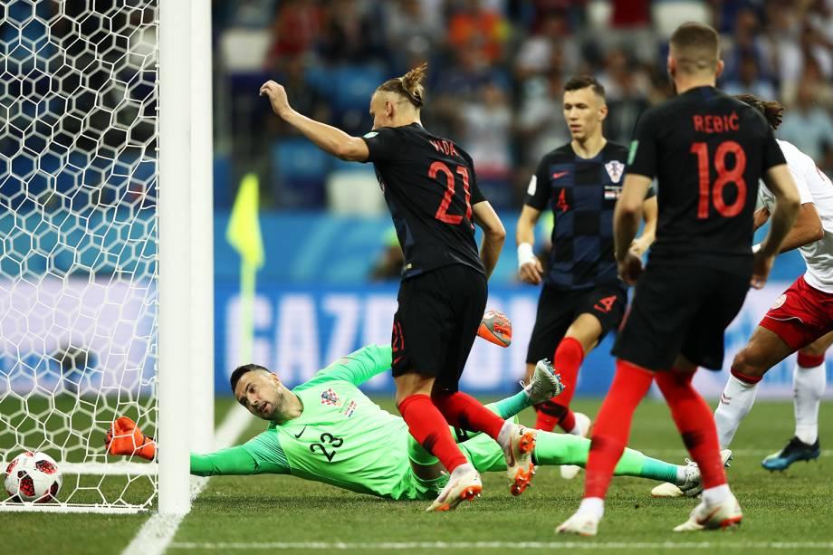 Mathias Jorgensen, da Dinamarca, marca o primeiro gol da Dinamarca durante partida contra a Croácia, válida pelas oitavas de final da Copa do Mundo - 01/07/2018