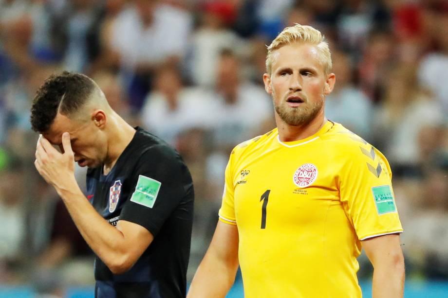 Ivan Perisic (esq) lamenta jogada perdida durante partida entre Croácia e Dinamarca, válida pelas oitavas de final da Copa do Mundo - 01/07/2018