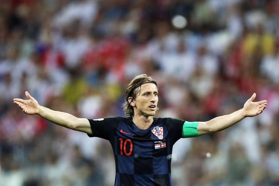 Luka Modric, da Croácia, durante partida contra a Dinamarca, válida pelas oitavas de final da Copa do Mundo - 01/07/2018