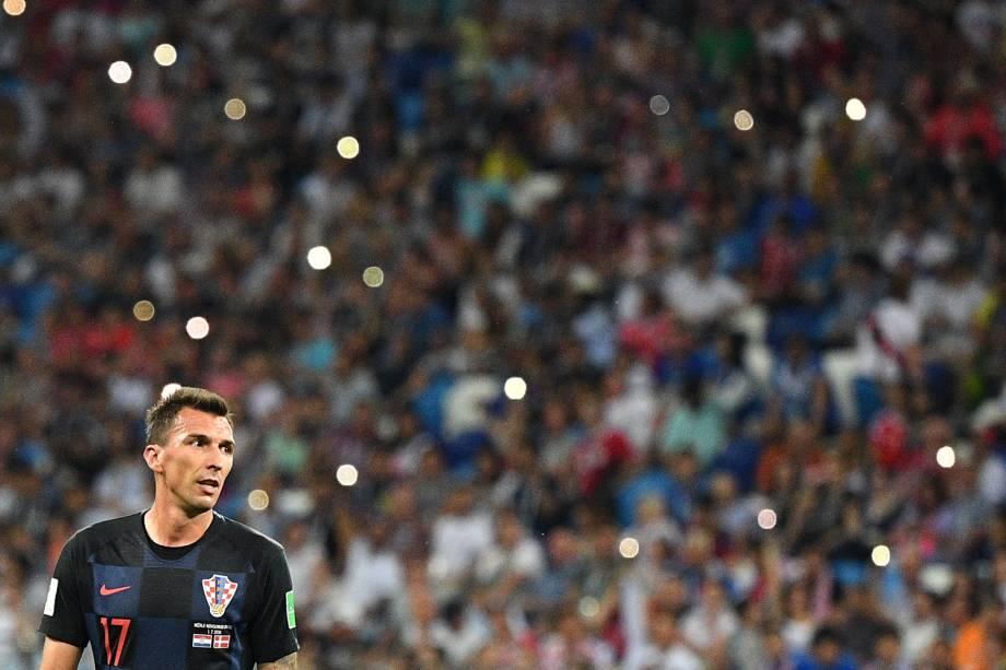 O atacante croata Mario Mandzukic, durante partida contra a Dinamarca, válida pelas oitavas de final da Copa do Mundo - 01/07/2018