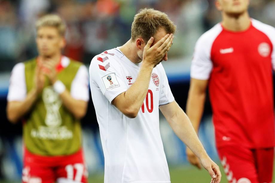 O jogador da Dinamarca, Christian Eriksen, lamenta após eliminação - 01/07/2018