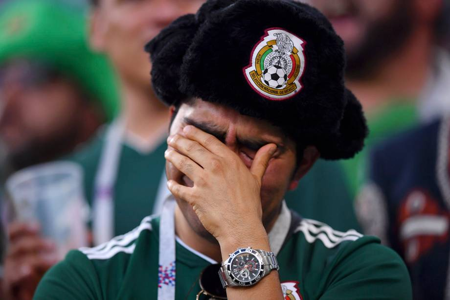 Torcedor do México reage durante a partida do Grupo F, contra a Suécia, na Arena Ecaterimburgo - 27/06/2018