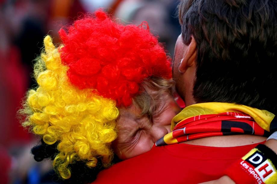 Um torcedor da Bélgica chora após a eliminação para a França na semi final da Copa do Mundo Rússia - 10/07/2018