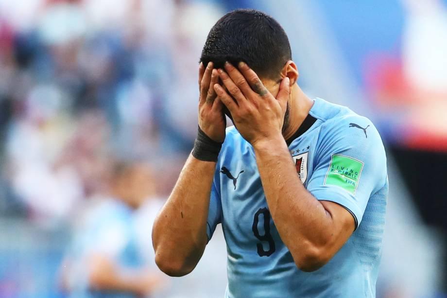 Luis Suarez, jogador do Uruguai, durante partida contra a Rússia, válida pela fase de grupos da Copa do Mundo, realizada na Arena Samara. A equipe sul-americana venceu a partida por 3 a 0 - 25/06/2018