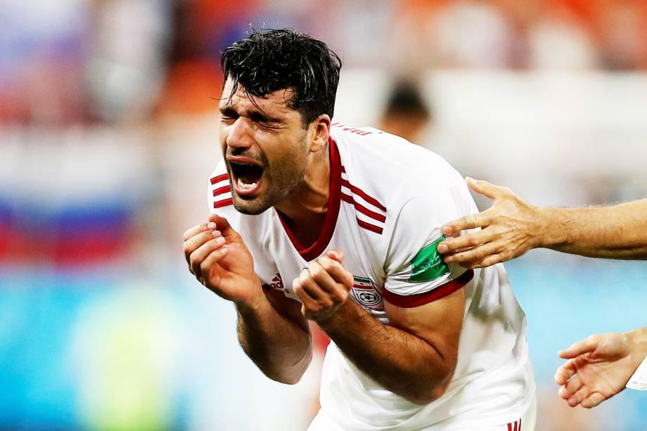 O jogador Mehdi Taremi, do Irã, comemora após partida contra Portugal, válida pela fase de grupos da Copa do Mundo, realizada em Saransk. Os iranianos empataram a partida em 1 a 1, nos acréscimos do segundo tempo - 25/06/2018