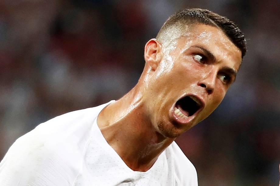 Cristiano Ronaldo durante partida entre Portugal e Uruguai, válida pelas oitavas de final da Copa do Mundo, realizada no Estádio Olímpico de Sochi. Os lusitanos perderam a partida por 2 a 1, sendo eliminados da competição - 30/06/2018