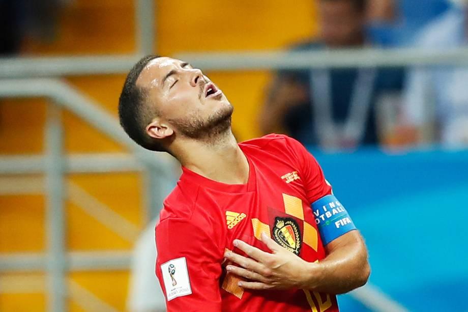 Eden Hazard durante partida entre Bélgica e Japão, válida pelas oitavas de final da Copa do Mundo, realizada na Arena Rostov. Os belgas venceram os asiáticos de virada, por 3 a 2 - 02/07/2018