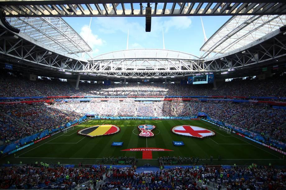 Vista geral do estádio São Petesburgo, que recebe o confronto entre Bélgica e Inglaterra na disputa pelo terceiro lugar da Copa do Mundo Rússia - 14/07/2018