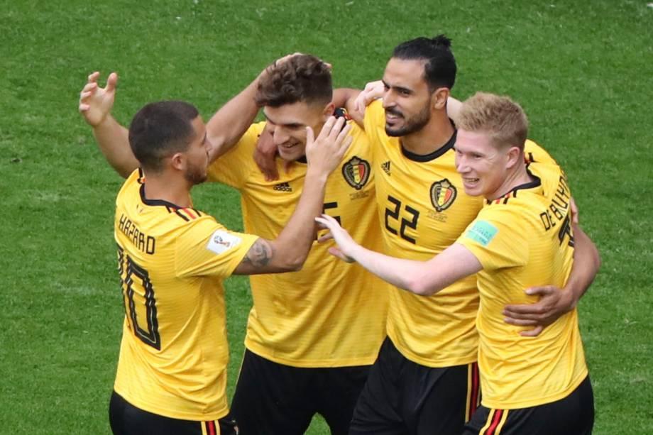 Thomas Meunier, da Bélgica, comemora o primeiro gol marcado na partida contra a Inglaterra - 14/07/2018
