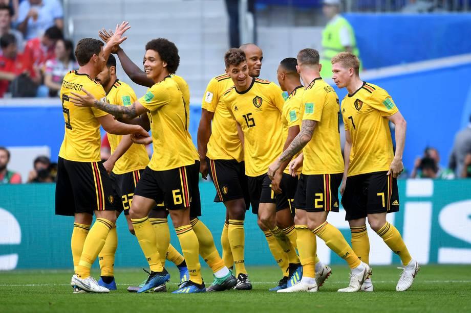 Jogadores da Bélgica comemoram o gol de Thomas Meunier contra a Inglaterra, durante a partida válida pelo terceira colocação na Copa do Mundo - 14/07/2018