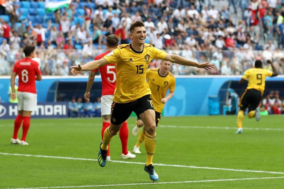 O belga Thomas Meunier comemora o gol marcado contra a Inglaterra durante a disputa de terceiro lugar - 14/07/2018