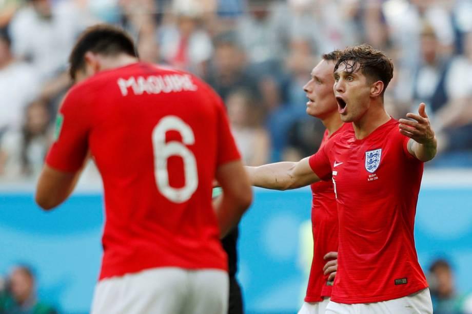 John Stones, da Inglaterra, reage durante a partida contra a Bélgica, válida pelo terceiro lugar da Copa do Mundo Rússia - 14/07/2018