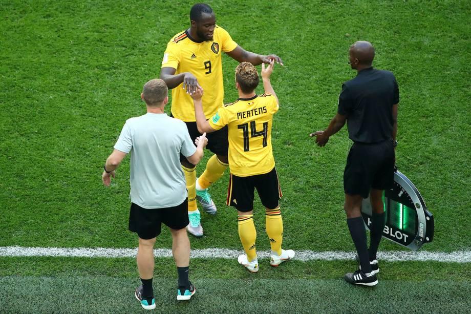 O atacante Romelu Lukaku, da Bélgica, é substituído por Dries Mertens, no confronto de terceiro lugar contra a Inglaterra - 14/07/2018