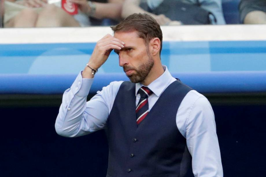 O técnico da seleção inglesa reage durante a partida contra a Bélgica, válida pelo terceiro lugar na Copa do Mundo Rússia - 14/07/2018