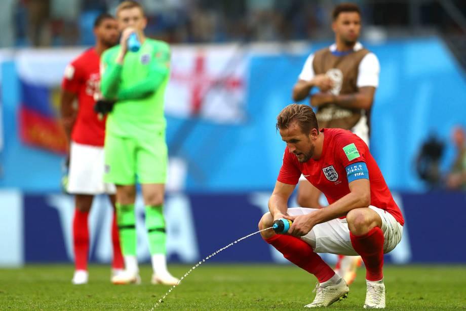 Harry Kane, da Inglaterra, reage após a derrota para a Bélgica por 2 a 0 - 14/07/2018